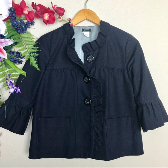 elegant shape best cheap special sales J. Crew Fiona short Navy coat with bell sleeves